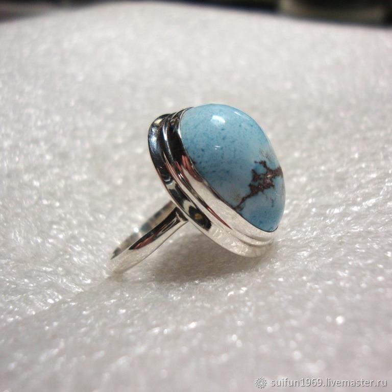 Кольца ручной работы. Ярмарка Мастеров - ручная работа. Купить Серебряное кольцо с бирюзой 4. Handmade. Подарок, серебряное кольцо