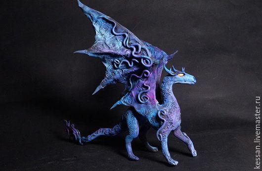 Сказочные персонажи ручной работы. Ярмарка Мастеров - ручная работа. Купить Синий  дракон  фигурка дракончик синий. Handmade. Дракон
