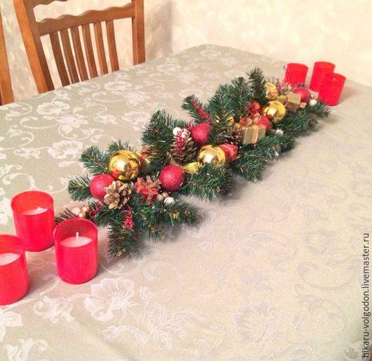 """Новый год 2017 ручной работы. Ярмарка Мастеров - ручная работа. Купить Новогодняя  композиция на стол """" Дорожка Красное-Золото """". Handmade."""