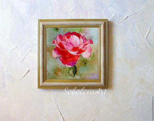 """Картины цветов ручной работы. Ярмарка Мастеров - ручная работа. Купить Картина розовая роза """"Роза Кармина"""" Картины Розы. Handmade."""