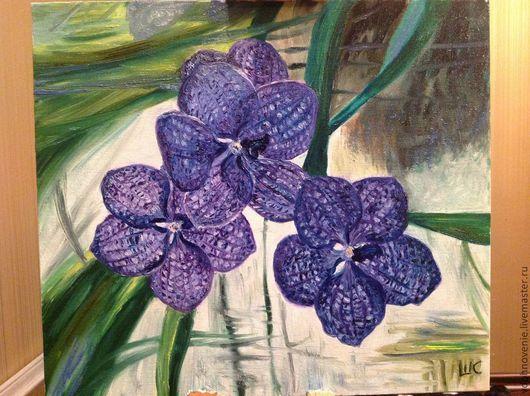 Картины цветов ручной работы. Ярмарка Мастеров - ручная работа. Купить Орхидеи фиолет. Handmade. Тёмно-фиолетовый, сиреневый цвет