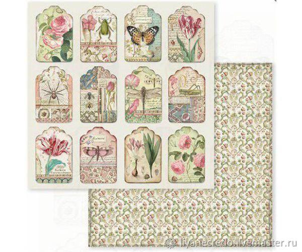 Лист с тегами Stamperia Spring Botanic, Бумага для скрапбукинга, Москва,  Фото №1