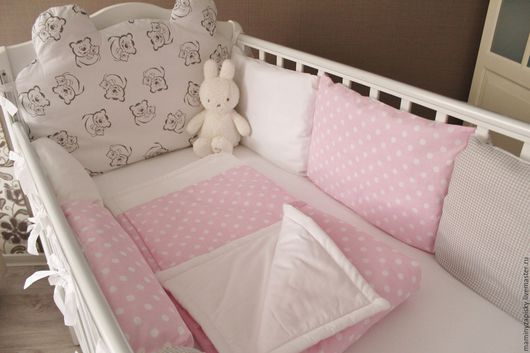 Детская ручной работы. Ярмарка Мастеров - ручная работа. Купить Комплект в кроватку. Handmade. Розовый, комплект белья, белье для девочки