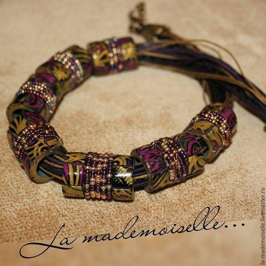 Колье `Мозаика,золото в фиолетовом`.Ручная работа,полимерная глина,la mademoiselle, handmade.