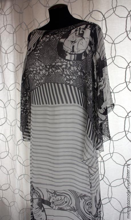 Платья ручной работы. Ярмарка Мастеров - ручная работа. Купить Легкое нарядное платье из шифона. Handmade. Чёрно-белый