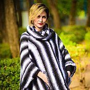 Одежда ручной работы. Ярмарка Мастеров - ручная работа Пончо черно белое вязаное. Handmade.