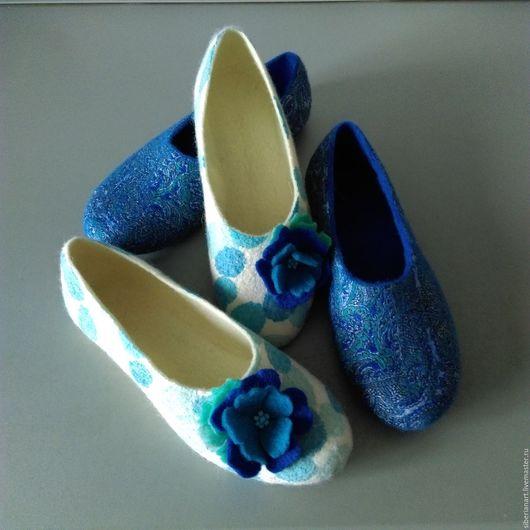 """Обувь ручной работы. Ярмарка Мастеров - ручная работа. Купить Тапочки валяные """"Оттенки голубого"""". Handmade. Комбинированный, тапочки из войлока"""