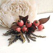 Украшения handmade. Livemaster - original item Brooch pin. Berries brown leaves. Handmade.