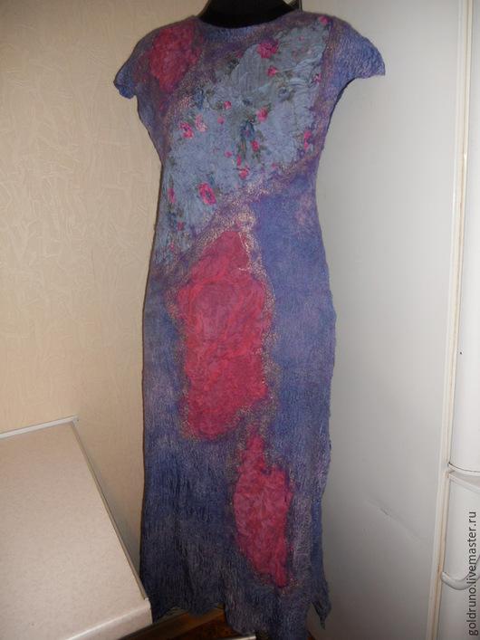 Платья ручной работы. Ярмарка Мастеров - ручная работа. Купить летнее валяное платье Сиреневое. Handmade. Сиреневый, шелк 100%