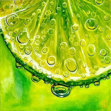Картины и панно ручной работы. Ярмарка Мастеров - ручная работа Картина маслом Сочный лайм лимон натюрморт гиперреализм на холсте. Handmade.