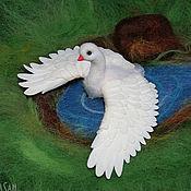Украшения ручной работы. Ярмарка Мастеров - ручная работа Лебедь (брошь). Handmade.