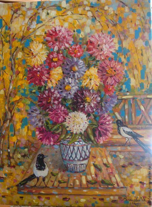 """Картины цветов ручной работы. Ярмарка Мастеров - ручная работа. Купить Картина """"Астры и сороки"""". Handmade. Картина, картина в подарок"""
