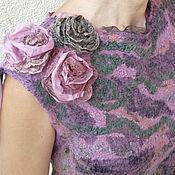 """Одежда ручной работы. Ярмарка Мастеров - ручная работа Валяный топ """" Шелковые розы """". Handmade."""