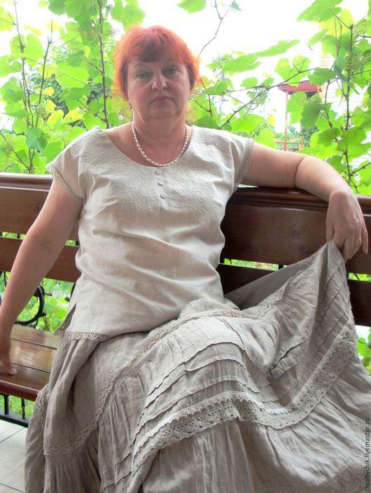 Блузки ручной работы. Ярмарка Мастеров - ручная работа. Купить Блузка льняная с вышивкой. Handmade. Серый, одежда для женщин