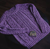 Одежда ручной работы. Ярмарка Мастеров - ручная работа Фиолетовый твидовый свитер. Handmade.