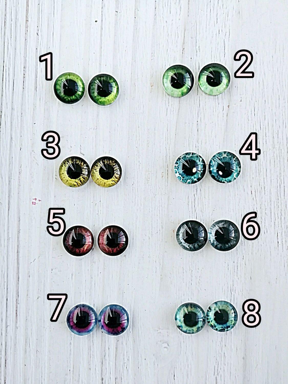 Стеклянные клеевые глаза 8мм  глазки для кукол и игрушек из стекла, Глаза и ресницы, Железнодорожный,  Фото №1