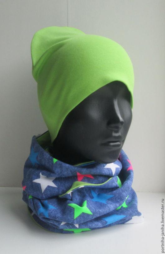 Шапки и шарфы ручной работы. Ярмарка Мастеров - ручная работа. Купить Комплект шапка и снуд хомут. Handmade. Для мальчика
