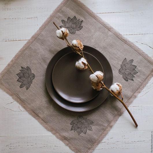 """Кухня ручной работы. Ярмарка Мастеров - ручная работа. Купить Комплект салфеток для сервировки """"Лилии"""". Handmade. Коричневый, кружево, хлопок"""