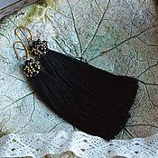 """Украшения ручной работы. Ярмарка Мастеров - ручная работа Черные серьги кисточки """"Black and Gold"""" с агатами. Handmade."""