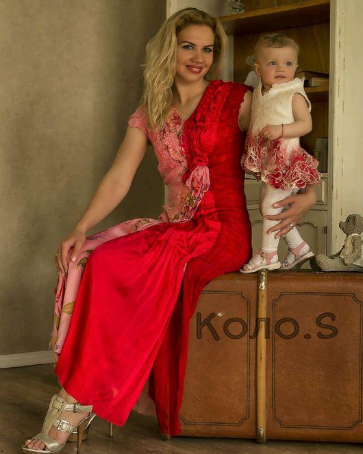Платья ручной работы. Ярмарка Мастеров - ручная работа. Купить Валяное платье Рубиново-Красное. Handmade. Платье вечернее, нуновойлок