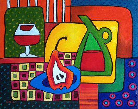 Абстракция ручной работы. Ярмарка Мастеров - ручная работа. Купить Вино с грушей. Handmade. Комбинированный, вино, груша, натюрморт для кухни