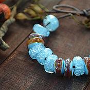 Украшения ручной работы. Ярмарка Мастеров - ручная работа Небесно-голубые - бусины лэмпворк для браслета в стиле пандора. Handmade.