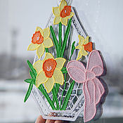 Для дома и интерьера ручной работы. Ярмарка Мастеров - ручная работа Украшение на окно Нарциссы.. Handmade.