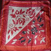 Винтаж handmade. Livemaster - original item Scarf with flowers,100% silk,vintage England. Handmade.