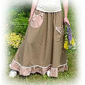 """Одежда ручной работы. Ярмарка Мастеров - ручная работа Юбка бохо  """"Модный стиль"""",с карманами,длинная,в пол,весенняя,летняя. Handmade."""