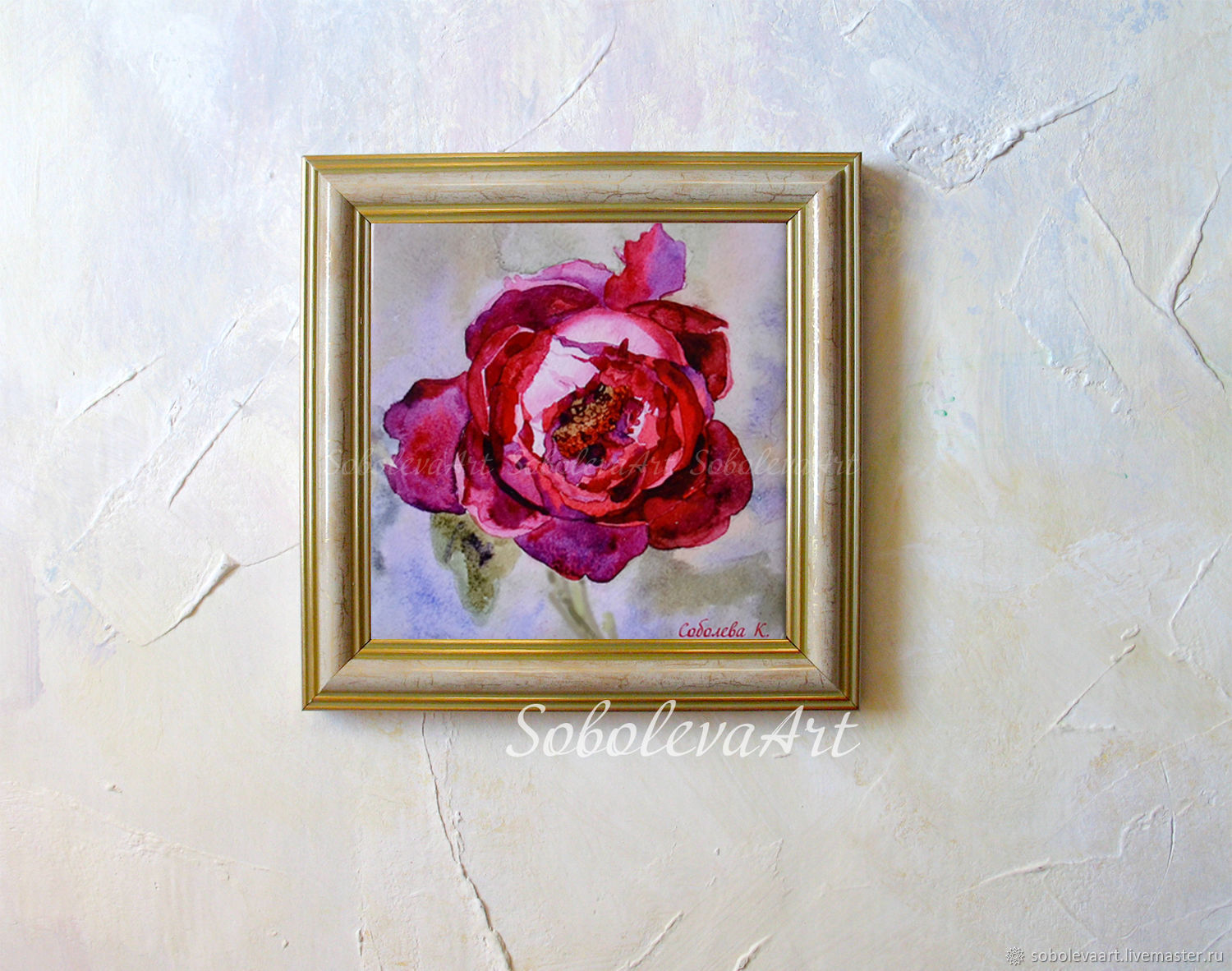 Picture Burgundy Peony Mural On The Wall Painting Flowers Gift For New