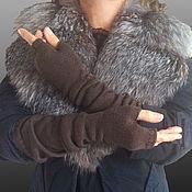 Аксессуары ручной работы. Ярмарка Мастеров - ручная работа Митенки рукава под меховой жилет шерсть кофе Осень. Handmade.