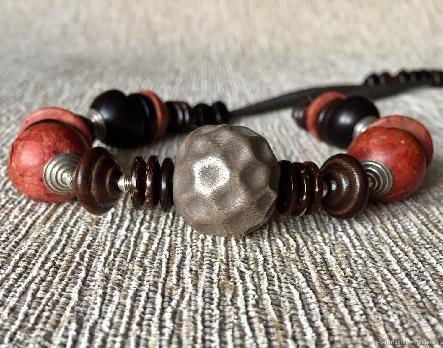 Boho beads from a Distance. Silver Karen hill, coral, wood, copper copyright, Necklace, Moscow,  Фото №1