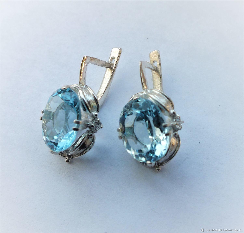 Earrings 'Heavenly'- Topaz, 925 sterling silver, Earrings, Moscow,  Фото №1