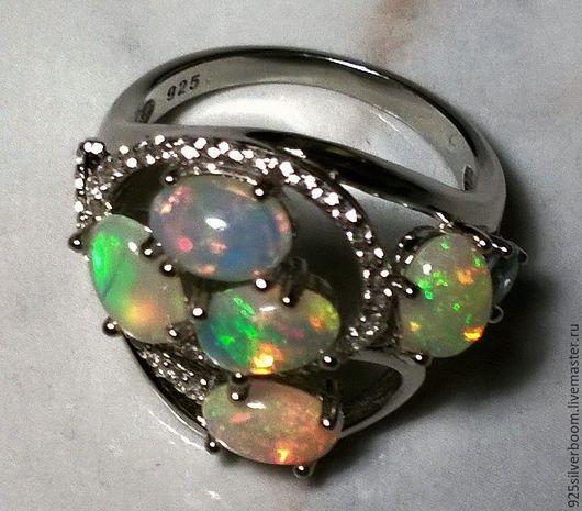 """Кольца ручной работы. Ярмарка Мастеров - ручная работа. Купить Кольцо """"Лора"""", нат. Опалы Wello класса ААА+, серебро 925. Handmade."""