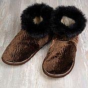 """Обувь ручной работы. Ярмарка Мастеров - ручная работа Чуни из овчины """"Каракульча коричневая"""". Handmade."""