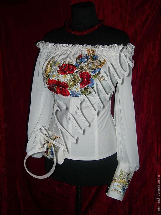 """Этническая одежда ручной работы. Ярмарка Мастеров - ручная работа. Купить Вышиванка """"Маки в васильках"""". Handmade. Белый, сувенир"""