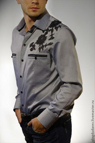 Для мужчин, ручной работы. Ярмарка Мастеров - ручная работа. Купить сорочка мужская. Handmade. Серый, Мужская рубашка