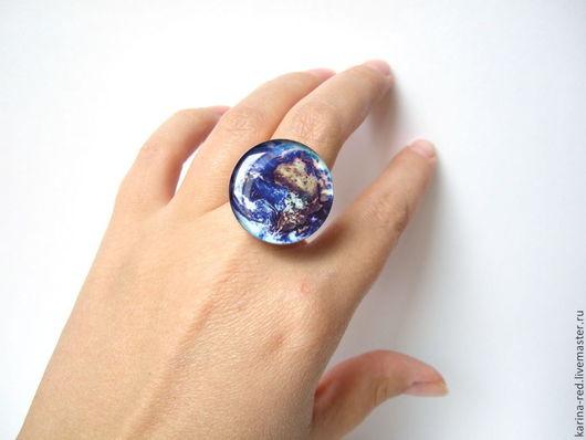 Кольца ручной работы. Ярмарка Мастеров - ручная работа. Купить Крупное Кольцо Вселенная Космос Галактика Планета Земля. Handmade.