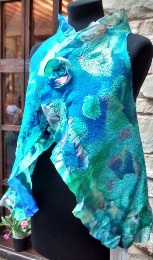 """Жилеты ручной работы. Ярмарка Мастеров - ручная работа. Купить Жилет-трансформер валяный """"Морской бриз"""". Handmade. Цветочный"""