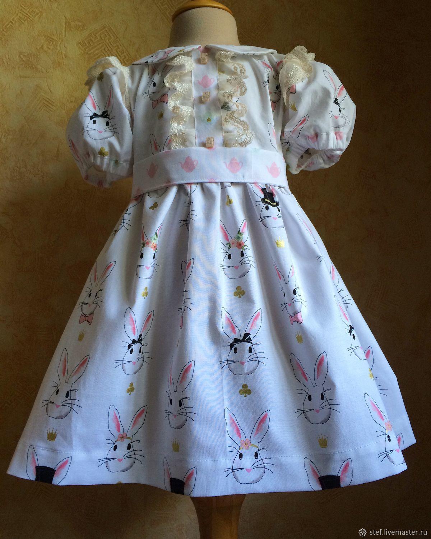 Детское платье с зайками из американского хлопка