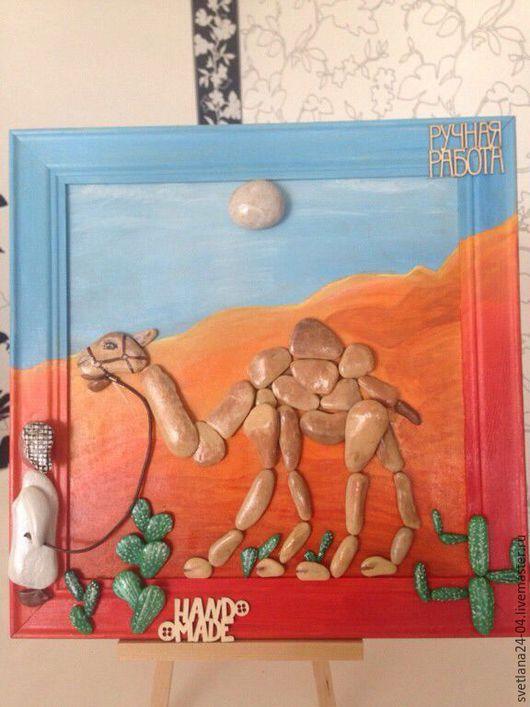 Животные ручной работы. Ярмарка Мастеров - ручная работа. Купить Ностальгия по Египту. Handmade. Оранжевый, pebble art, картина в подарок