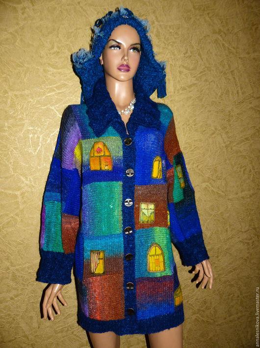 """Кофты и свитера ручной работы. Ярмарка Мастеров - ручная работа. Купить Жакет """"ОКНА"""" - пряжа Эйсаку Норо. Handmade. Рисунок"""