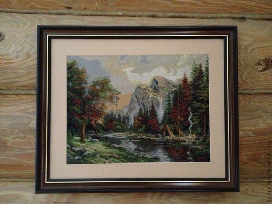 Пейзаж ручной работы. Ярмарка Мастеров - ручная работа. Купить Утро в горах. Пейзаж. Вышитая картина. Handmade. Бежевый, вышивка