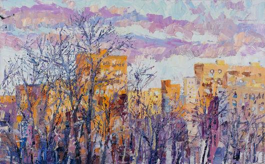 Анна Крюкова (impression-живопись) Картина зима маслом купить Купить картину в интерьер Картина городской пейзаж