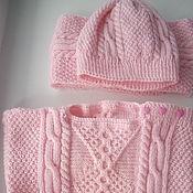 Работы для детей, handmade. Livemaster - original item Set of child with Irish pattern, pink. Handmade.