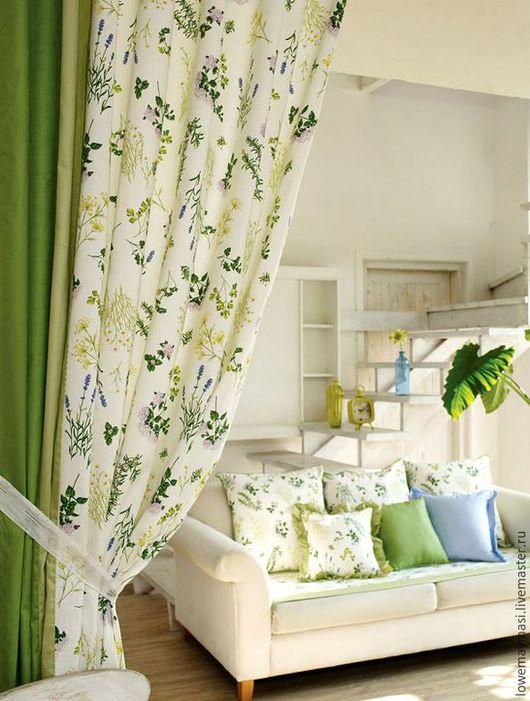 Текстиль, ковры ручной работы. Ярмарка Мастеров - ручная работа. Купить Шторы Кармен из натурального льна. Handmade. Зеленый