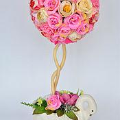 Топиарий цветочный Розовое счастье