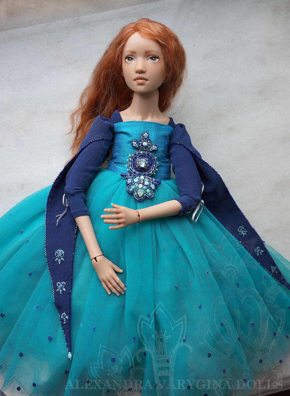Коллекционные куклы ручной работы. Ярмарка Мастеров - ручная работа. Купить Шарнирно-текстильная кукла Селесте. Handmade. Бирюзовый, вышивка