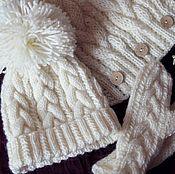 Работы для детей, handmade. Livemaster - original item Copy of Set knitted dandelion, knitted hat, knitted scarf and mittens.. Handmade.