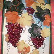 """Картины и панно ручной работы. Ярмарка Мастеров - ручная работа """"Виноград""""- картина из кожи. Handmade."""